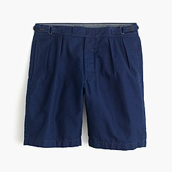 Wallace & Barnes double-pleated short in indigo chambray