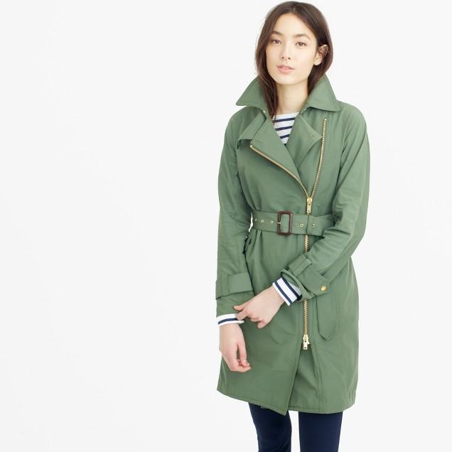 Belted zip trench coat in water-resistant cotton