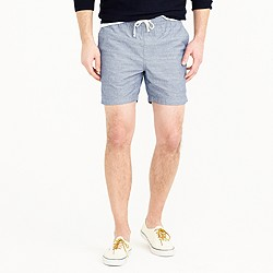 Longer dock short in chambray