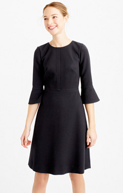 Bell-sleeve crepe dress
