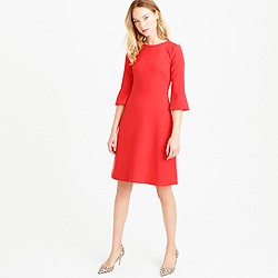 Bell-sleeve crepe dress