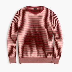 Cotton crewneck sweater in red stripe