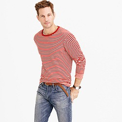 Cotton crewneck sweater in red stripe