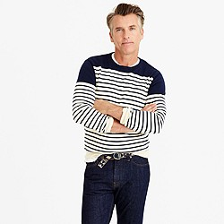 Cotton-cashmere crewneck sweater in navy stripe