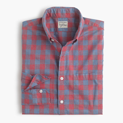 Slim Secret Wash shirt in heather gingham