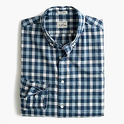 Slim Secret Wash shirt in checked heather poplin