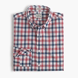 Slim Secret Wash shirt in checked heather poplin