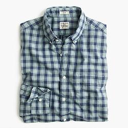 Slim Secret Wash shirt in plaid heather ruby poplin