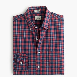 Slim Secret Wash shirt in plaid heather poplin