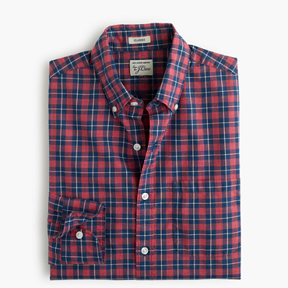 Slim Secret Wash shirt in plaid heather ruby poplin