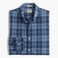 Slim Secret Wash shirt in ocean plaid poplin