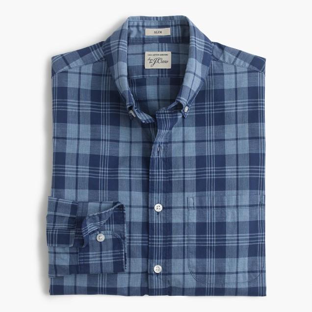 Slim Secret Wash shirt in ocean plaid poplin