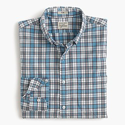 Slim Secret Wash shirt in seafoam plaid poplin