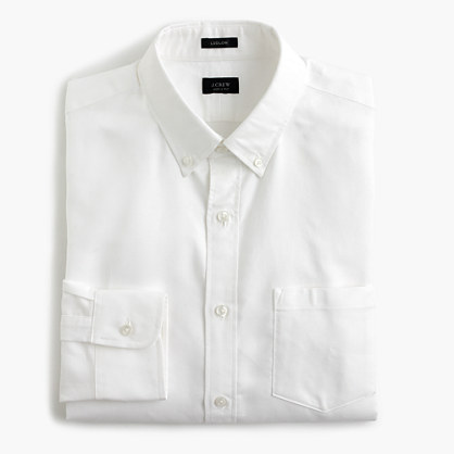 Ludlow Slim-fit cotton oxford shirt in white