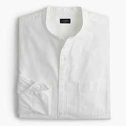 Band-collar oxford shirt in white