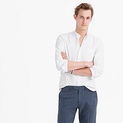 Band-collar oxford shirt in white