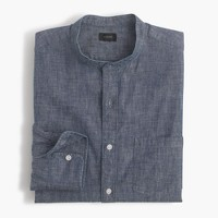 Band-collar shirt in dark chambray