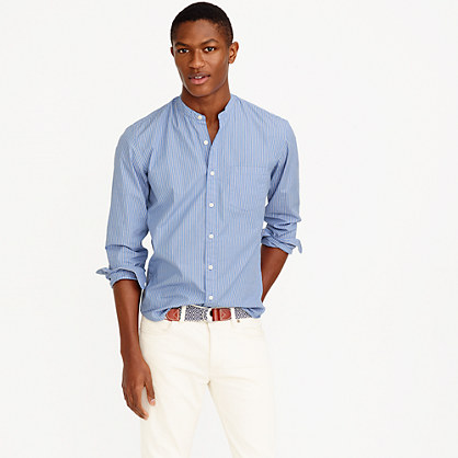 Band collar shirt in webber stripe band collar j crew for Mens big and tall banded collar shirts