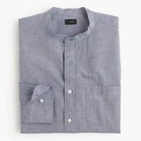 Band-collar shirt in diamond dobby chambray