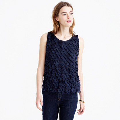 Collection lightweight wool and chiffon sleeveless sweater