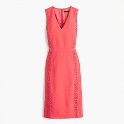 Sleeveless sheath dress with eyelet trim