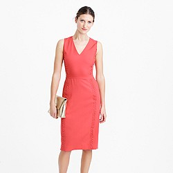 Petite sleeveless sheath dress with eyelet trim