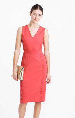 Sleeveless sheath dress with eyelet trim
