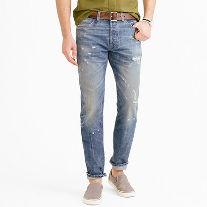 Wallace & Barnes slim selvedge jean in Cone Denim® with destroyed wash
