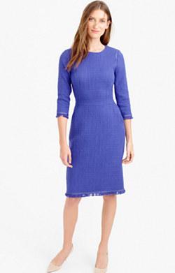 Long-sleeve tweed dress with fringe