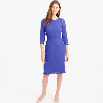 Petite long-sleeve tweed dress with fringe