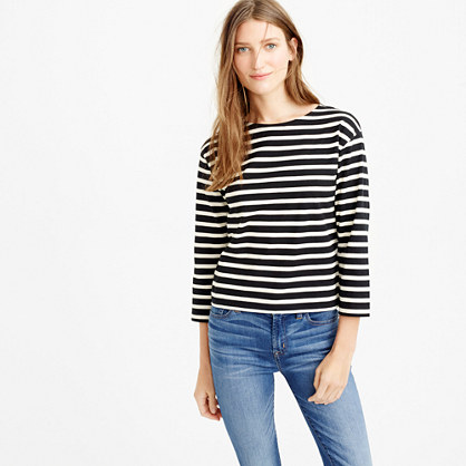 Long-sleeve striped crewneck T-shirt