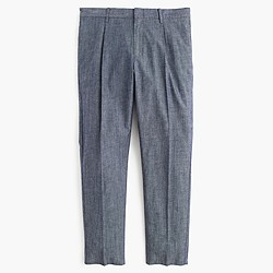 Pleated trouser in Cone Denim® indigo-dyed chambray