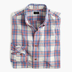Lightweight cotton shirt in orange plaid
