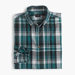 Lightweight cotton shirt in green plaid