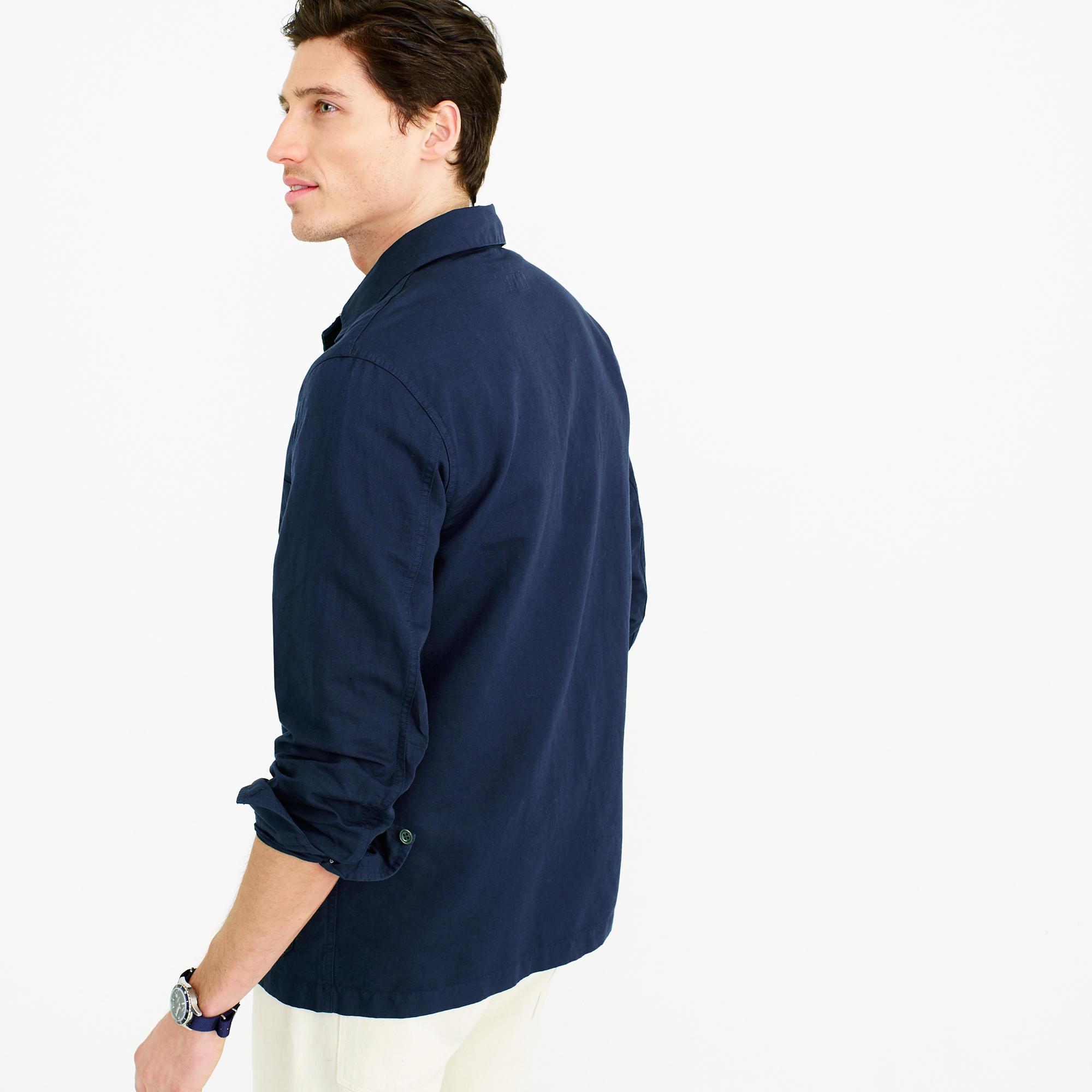 Wallace & Barnes Lightweight Garment-Dyed Cotton-Linen Shirt ...