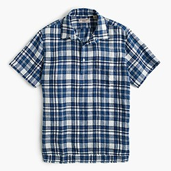 Wallace & Barnes Irish linen indigo plaid popover shirt