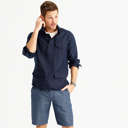 Irish linen naval popover shirt