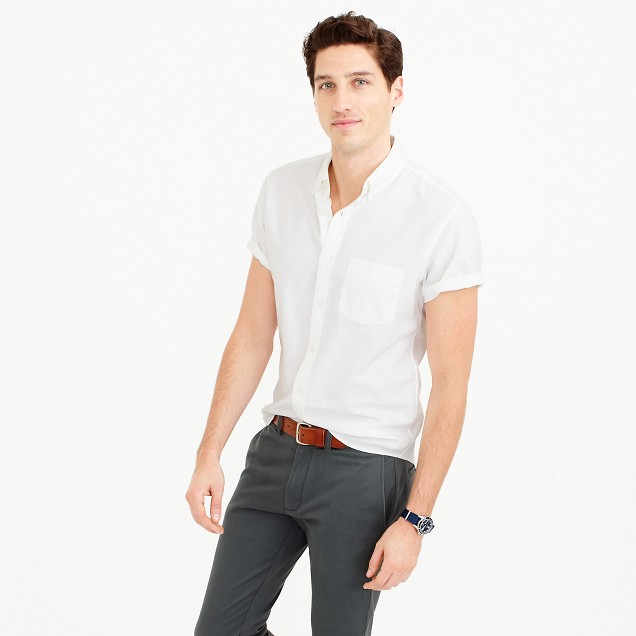 Tall short sleeve lightweight oxford shirt j crew for J crew mens outfits