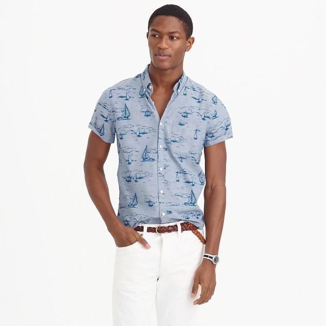 Short-sleeve shirt in sailboat print