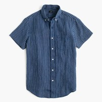 Short-sleeve shirt in indigo striped Irish linen