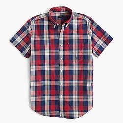 Short-sleeve lightweight cotton shirt in red plaid