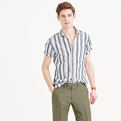 Short-sleeve camp-collar shirt in lightweight cotton