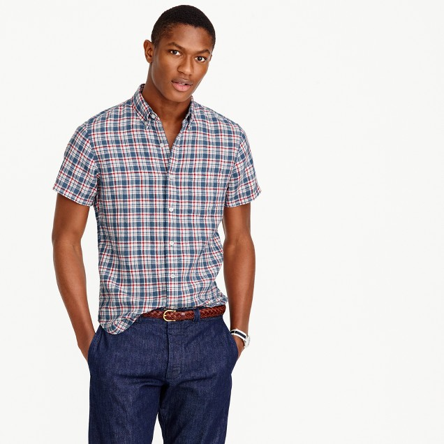 Short-sleeve délavé Irish linen shirt in Morton plaid