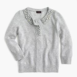 Girls' jewel-collar cashmere cardigan sweater