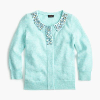 Girls' jewel-collar cashmere cardigan sweater