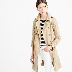 Petite washed cotton trench coat