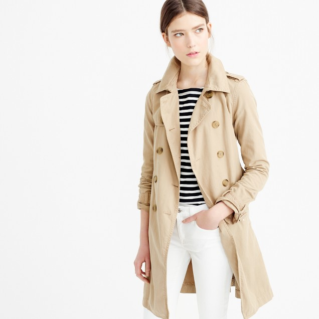 Washed cotton trench coat