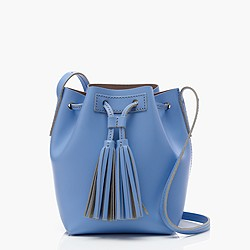 Mini bucket bag in leather