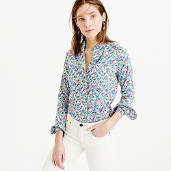 Ruffle button-up shirt in Liberty Art Fabrics Claire-Aude floral