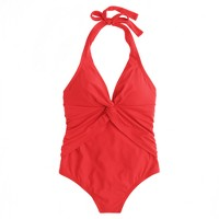Twist-front halter one-piece swimsuit